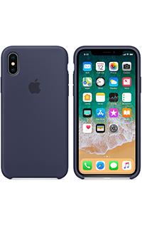 Accesoriu protectie spate Apple din silicon pentru iPhone X albastru inchis