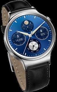 Huawei Watch W1 otel inoxidabil cu curea piele neagra